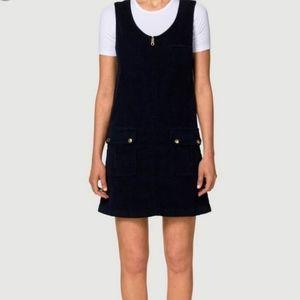Frame Navy Blue Corduroy Jumper Dress Stretch